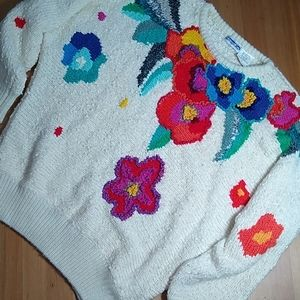 Vintage Floral Chunky Grandma Sweater - Medium